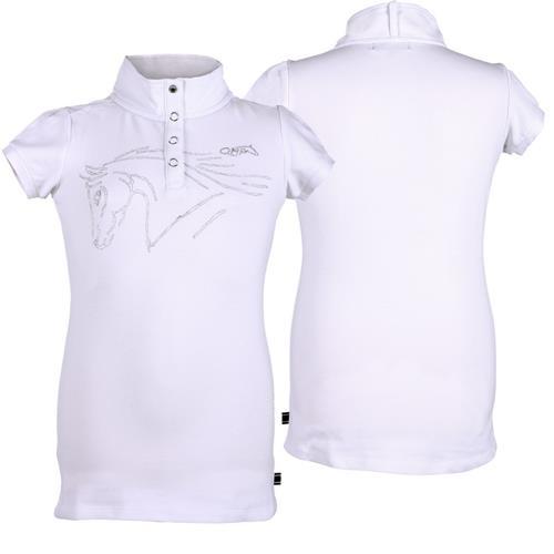 Dětské závodní triko QHP Nola, bílé / šedé - bílé, vel. 176 Triko dětské QHP Nola, bílé