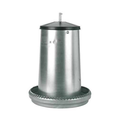 Poloautomatické tubusové krmítko pro drůbež z pozinkovaného plechu - 18 kg Krmící pozinkovaný automat pro slepice a kuřata, 18 l