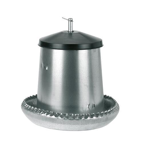 Poloautomatické tubusové krmítko pro drůbež z pozinkovaného plechu - 5 kg Krmící pozinkovaný automat pro slepice a kuřata, 5 l