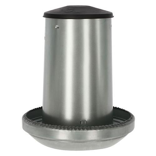 Poloautomatické tubusové krmítko pro drůbež z pozinkovaného plechu - 40 kg Krmící pozinkovaný automat pro slepice a kuřata, 40 l