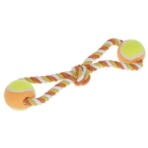 Hračka pro psy z provazu tvar osmička s míčky, 34 cm Hračka pro psy z provazu tvar osmička s míčky, 34 cm