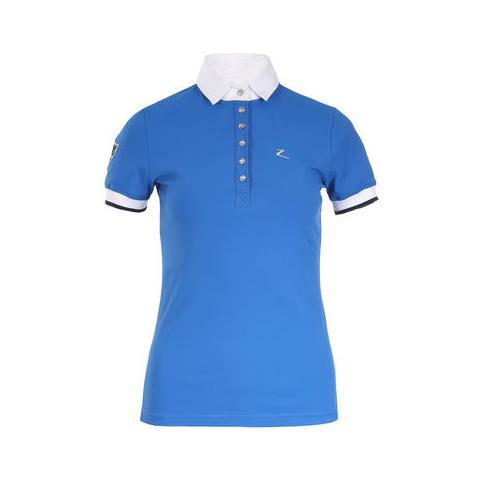 Dámské závodní triko Horze Ines, modré korálové - vel. 42 Triko dámské Horze s límečkem, modré, vel. 42