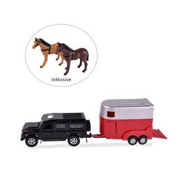 Set dětský, auto s vozíkem + 2 koně