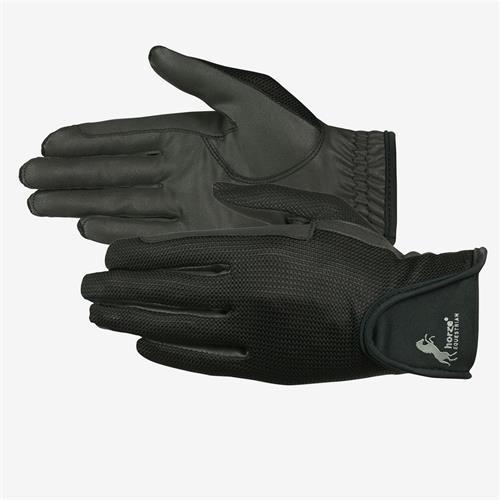 Jezdecké rukavice Horze PU - černé, vel. 9 Rukavice kožené Horze PU, černé, vel. 9