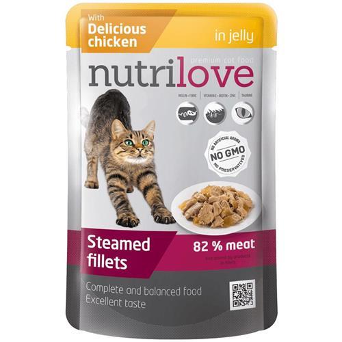 Kapsička pro kočky Nutrilove v želé, 85 g - kuřecí Kuřecí v želé.