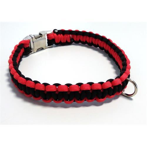 Paracord obojek pro psy, červený - 35 cm Paracord barva červená černý střed.