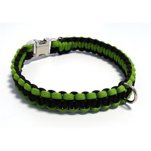 Paracord obojek pro psy, zelený - 35 cm Paracord barva zelený černý střed.