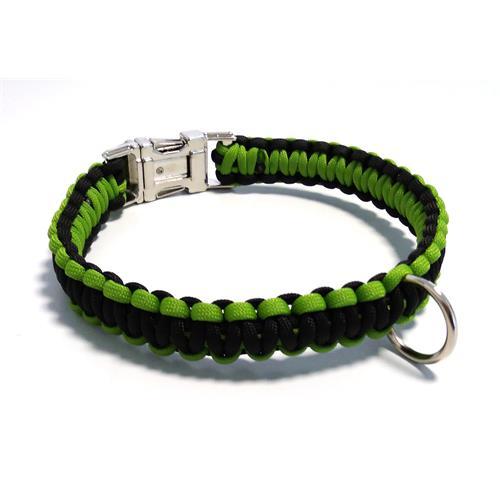 Paracord obojek pro psy, zelený - 40 cm Paracord barva zelený černý střed.