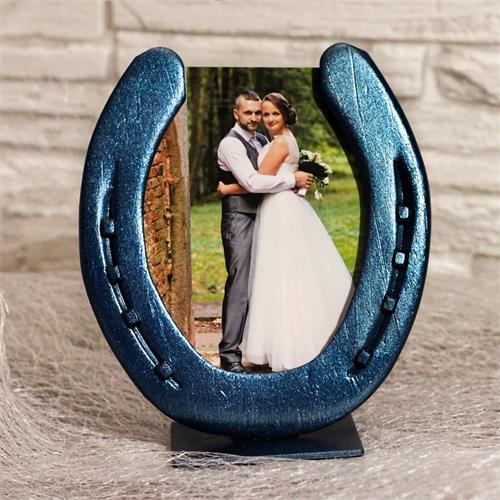 Fotorámeček na výšku, ručně vyrobený - modrý metalický Fotorámeček na výšku, modrý metalický