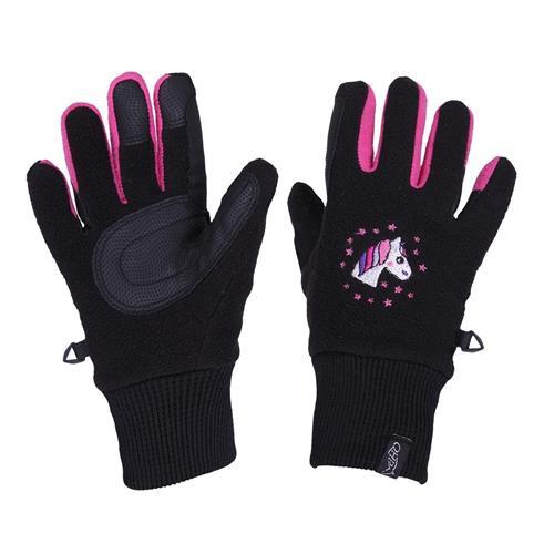 Dětské fleecové rukavice QHP - černo-růžové, 5-6 let Rukavice dětské fleece QHP, černo-růžové, 8-10 let