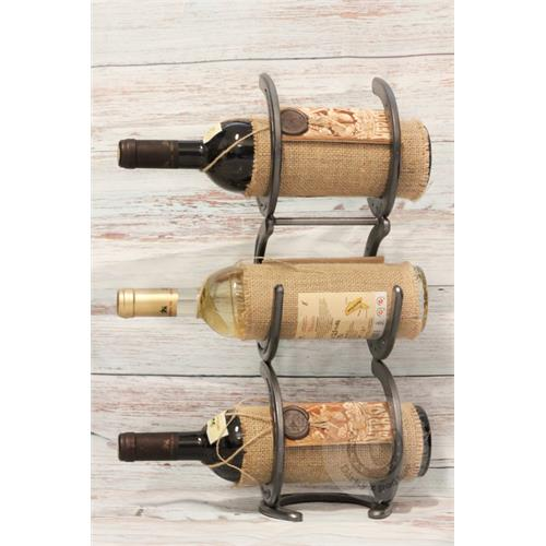Stojan na víno 3 lahve, na výšku, ručně vyrobený - kouřový šedý Stojan na víno 3 lahve, na výšku, kouřový šedý