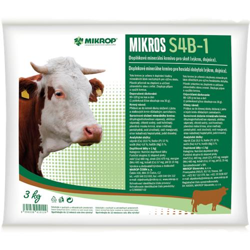 Doplňkové minerální krmivo pro skot Mikros S4B-1, 3 kg Doplňkové minerální krmivo pro skot Mikros Skot S4B-1 (výkrm, dojnice)