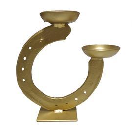Svícen z jedné podkovy, ručně vyrobený - zlatý