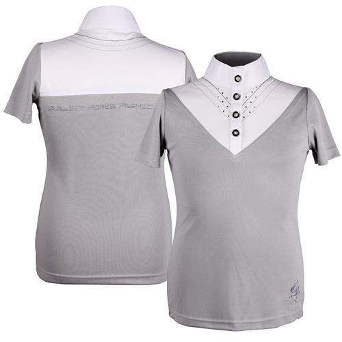 Dětské triko QHP Lisa, bílo-šedé - vel. 164 Triko dětské QHP Lisa , bílo-šedé, vel. 164
