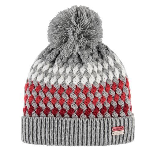 Pletená zimní čepice Euro-Star Bendi - šedo-červená Čepice zimní Eurostar Bendi, šedo-červená