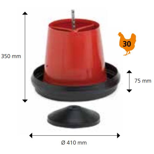 Krmící automat pro kuřata s plastovým víkem, červeno-černé - 10 kg Poloautomatické tubusové krmítko s možností nožiček, červené, 6-8 kg