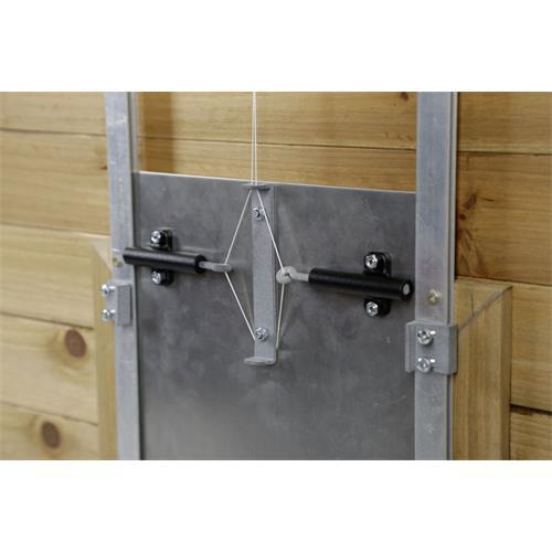 Zámek k posuvným dveřím s vodící lištou pro kurník Sadá zámku pro posuvné dveře pro kurník.