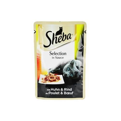 Sheba Selection in Sauce s kuřecím a hovězím masem, 85g Sheba kapsička s kuřecím a hovězím.