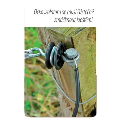 Izolátor pro elektrické ohradníky koncový k brance, otočný,  vrut 6 mm Očko izolátoru se musí částečně zmáčknout kleštmi.