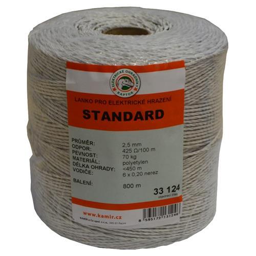 Polyetylenové lanko pro elektrické ohradníky STANDARD 2,5 mm Polyetylenové lanko pro elektrické ohradníky STANDARD 2,5 mm