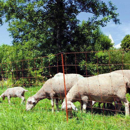 Síť pro elektrické ohradníky na ovce OVINET v. 108 cm, d. 50 m, dvojitá špička, oranžová Síť pro elektrické ohradníky na ovce OVINET v. 108 cm, d. 50 m, dvojitá špička