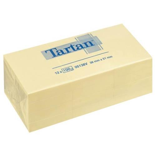 Bloček samolepicí TARTAN 38x51 mm, 100 listů, žlutý Bloček samolepicí QUICK, 40x50 mm, žlutý, 100 listů, 3 ks