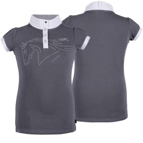 Dětské závodní triko QHP Nola, bílé / šedé - šedé, vel. 176 Triko dětské QHP Nola, šedé