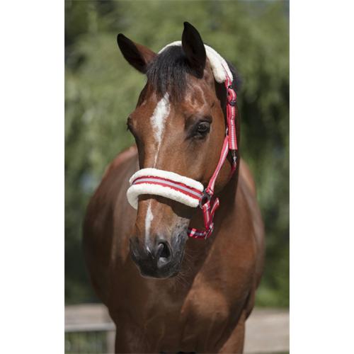 Nylonová ohlávka Ekkia s beránkem - červeno-šedá, vel. Pony Ohlávka 2xpodl. ber Ekkia, červeno-šedá, vel. Pony