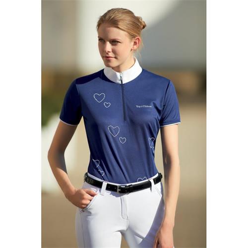 Dámské závodní triko Equitheme, modré se srdíčky - modré, vel. 38 Triko závodní dámské EKKIA srdce, modré, vel. 38