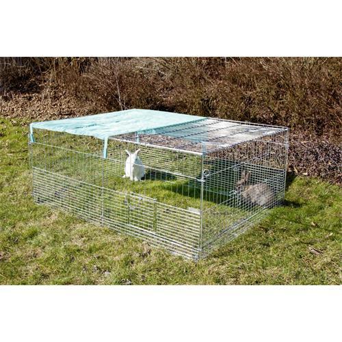 Výběh pro králíky, hlodavce a drůbež 144 x 112 x 60 cm s protipodhrabávacími destičkami, hustým pletením, rovná střecha, 3 dveře Klec venkovní, 3 dveře, pozinkovaná 144x112x60 cm
