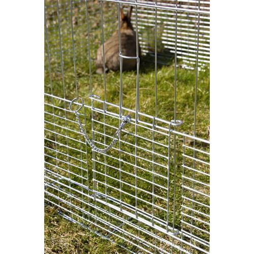 Výběh pro králíky, hlodavce a drůbež 144 x 112 x 60 cm s protipodhrabávacími destičkami, hustým pletením, rovná střecha, 3 dveře Malá dvířka z boku klece.