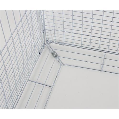 Výběh pro králíky, hlodavce a drůbež 144 x 112 x 60 cm s protipodhrabávacími destičkami, hustým pletením, rovná střecha, 3 dveře Detail podhrabávacích destiček klece.