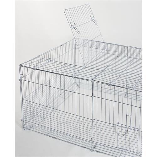 Výběh pro králíky, hlodavce a drůbež 144 x 112 x 60 cm s protipodhrabávacími destičkami, hustým pletením, rovná střecha, 3 dveře Otvírání dvířek v horní části  klece.
