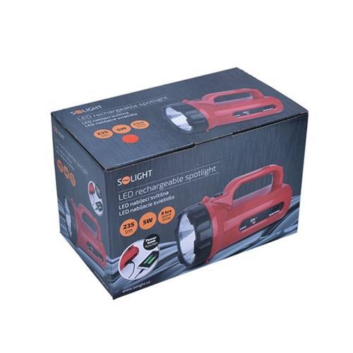 LED svítilna Solight WN23 s funkcí power banky, 5W, 235 lm, červená LED svítilna Solight WN23 s funkcí power banky, 5W, 235 lm, červená