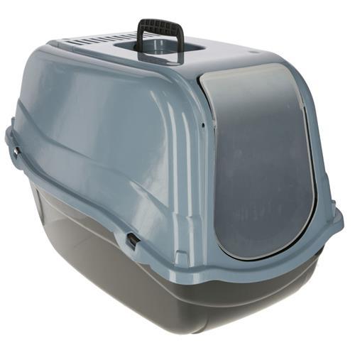 Toaleta pro kočky - krytá s dvířky a filtrem, černo - modrá Toaleta Emma Eco, černo - modrá.