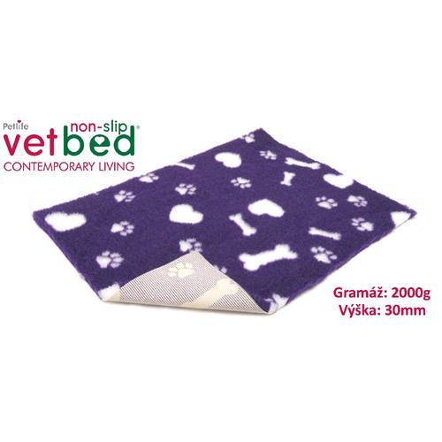 Podložka Vetbed, 2000 g, vlas 30 mm, 75 x 50 cm - Motivy fialová Vetbed protiskluz/Drybed fialová motivy 75 x 50 cm, vlas 30 mm.