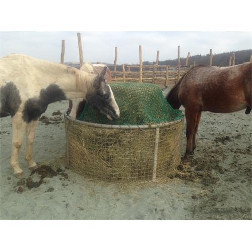 Příkrmiště kruhové síťované pro koně, pozinkované průměr 155 cm, výška 80 cm,lehčí plemena Síť na seno do příkrmiště