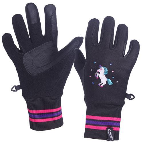 Dětské rukavice QHP Hidalgo - černé, 10 let Rukavice dětské QHP Hidalgo, černé, 10 let