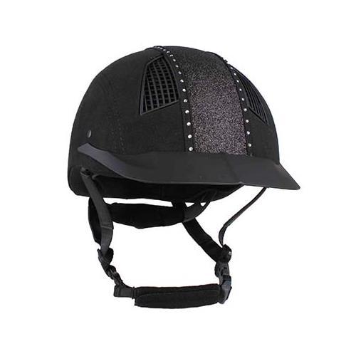 Jezdecká bezpečnostní přilba QHP Divine, černá s flitry - vel. L Přilba jezdecká Divine černá s flitry L