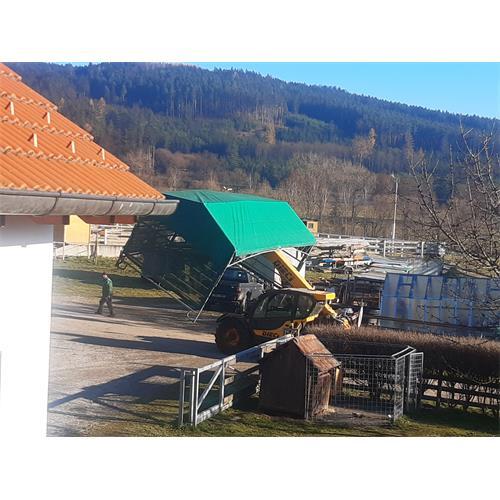 Mobilní přístřešek EURO 6x3m (bez ohradních panelů) Přeprava sestaveného přístřešku 6x3 m