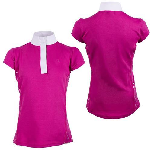 Dětské závodní triko QHP Kieki, růžové - vel. 164 Triko dětské QHP Kieki, růžové,