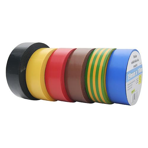 Izolační páska PVC 19mm / 10m, 10 ks - černá Izolační páska PVC 19mm / 10m, černá 10 ks