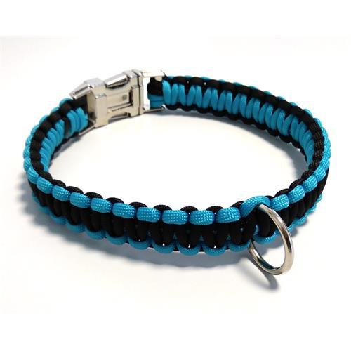 Paracord obojek pro psy, modrý - 40 cm Paracord barva modrý černý střed.