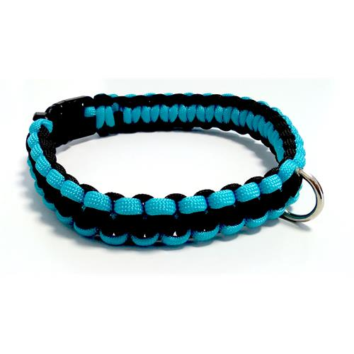 Paracord obojek pro psy, modrý - 30 cm Paracord barva modrý černý střed.