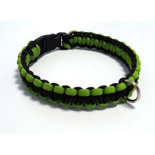 Paracord obojek pro psy, zelený - 30 cm Paracord barva zelený černý střed.