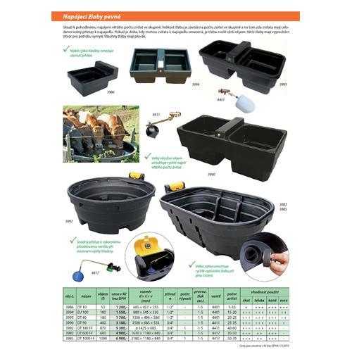 Napájecí žlaby s ventilem, kruhové - 870 l Napájecí žlab s ventilem, 870 l, kruhový