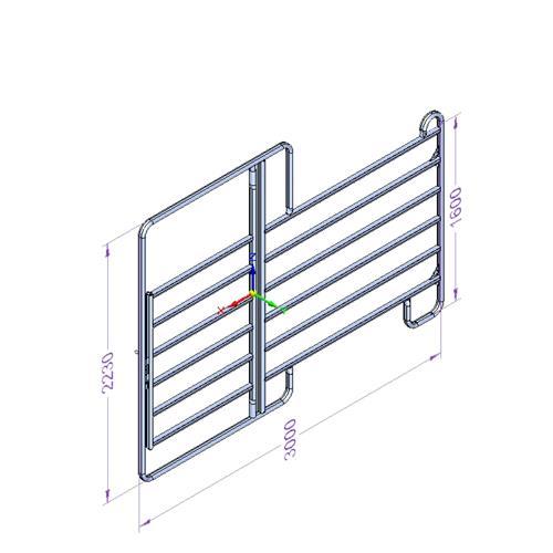 Panel ohradní EURO s dveřmi pozink, 6 příček, výška 1,6 m, délka 3 m Panel ohradní EURO s dveřmi pozink, 6 příček, výška 1,6 m, délka 3 m