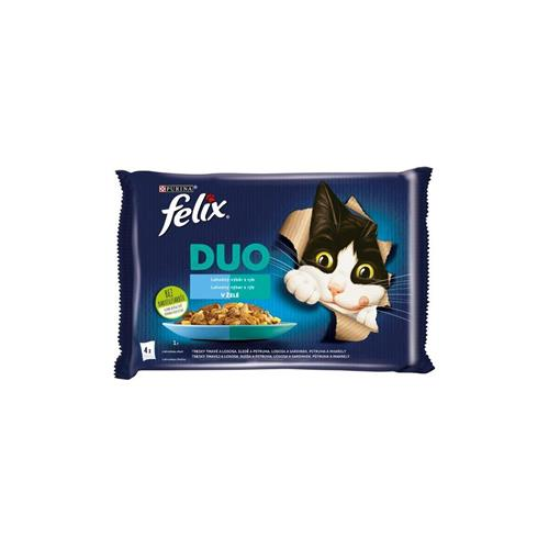 Felix Fantastic Duo Rybí výběr v želé 4×85 g Kapsička kočka Felix FanDuo. rybí v želé 4x85 g.