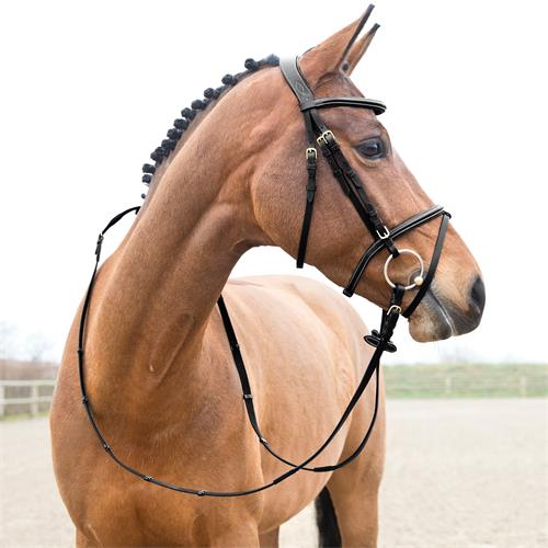Uzdečka kožená, Constance, světle hnědá / černá - černá, vel. Pony Uzdečka kožená Horze Constance, černá