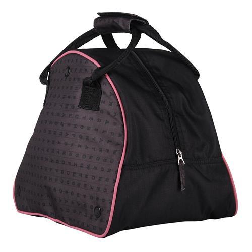 Taška na jezdeckou přilbu QHP - Puzzle, černo-šedo-růžová Taška na jezdeckou přilbu QHP Puzzle
